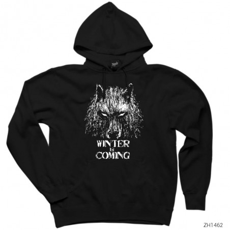 Game Of Thrones Winter Is Coming Wolf Kapşonlu Sweatshirt / Hoodie