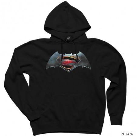 Superman v Batman Logo Kapşonlu Sweatshirt / Hoodie