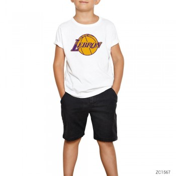 Lebron James Lakers Logo Çocuk Tişört