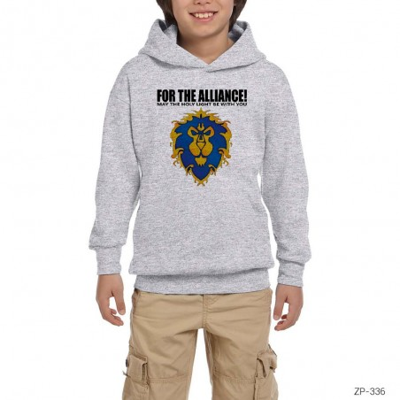 World of Warcraft Alliance Gri Çocuk Kapşonlu Sweatshirt
