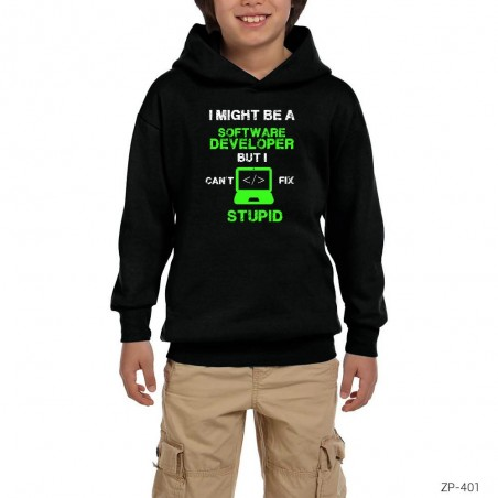 I Might Be A Software Developer Siyah Çocuk Kapşonlu Sweatshirt