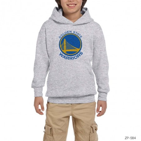Golden State Warriors Gri Çocuk Kapşonlu Sweatshirt