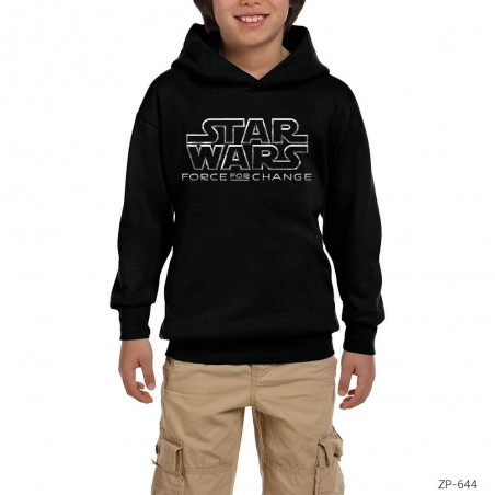 Star Wars Force For Change Siyah Çocuk Kapşonlu Sweatshirt