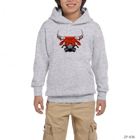 Chicago Bulls with Mask Gri Çocuk Kapşonlu Sweatshirt