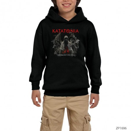 Katatonia Night is the New Day Siyah Çocuk Kapşonlu Sweatshirt