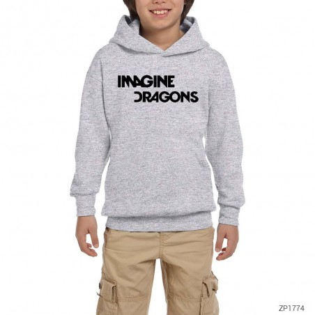 Imagine Dragons Logo Gri Çocuk Kapşonlu Sweatshirt