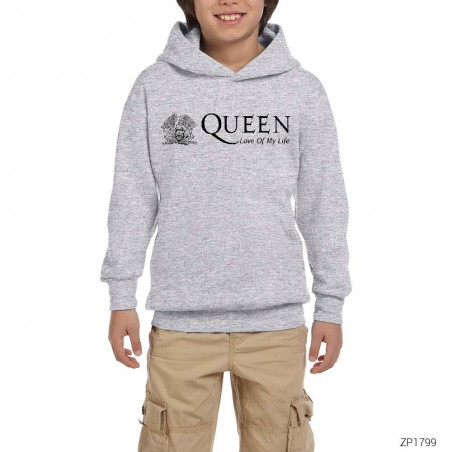 Queen Love Of My Life Gri Çocuk Kapşonlu Sweatshirt