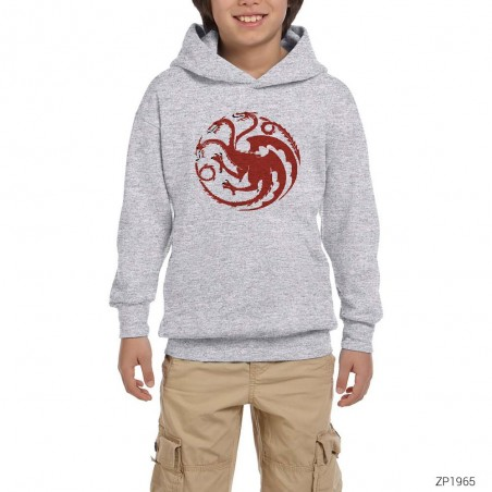Game Of Thrones House Of Targaryen Dragon Gri Çocuk Kapşonlu Sweatshirt