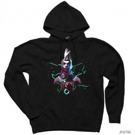 League of Legends Ekko Siyah Kapşonlu Sweatshirt / Hoodie