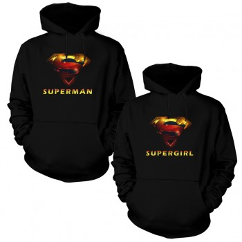 SuperGirl and Man Sevgili Kapşonlu Sweatshirt