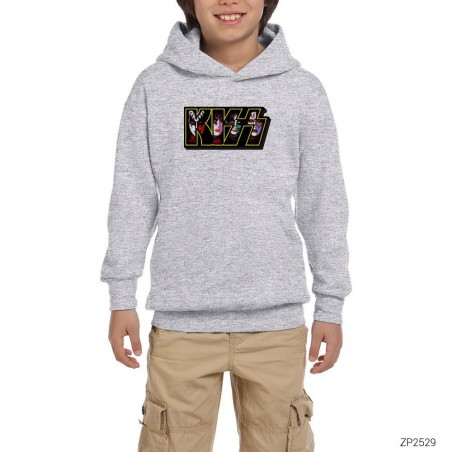 Kiss Group in Logo Gri Çocuk Kapşonlu Sweatshirt
