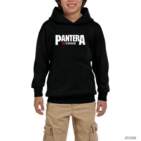 Pantera Walk on the Wild Side Siyah Çocuk Kapşonlu Sweatshirt