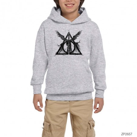 Harry Potter Deathly Hallows Gri Çocuk Kapşonlu Sweatshirt