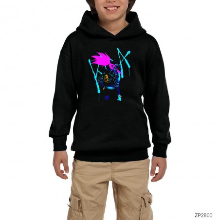 League of Legends Kda Siyah Çocuk Kapşonlu Sweatshirt