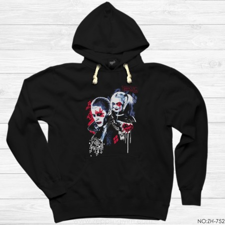Suicide Joker and Harley Graffiti Kapşonlu Sweatshirt